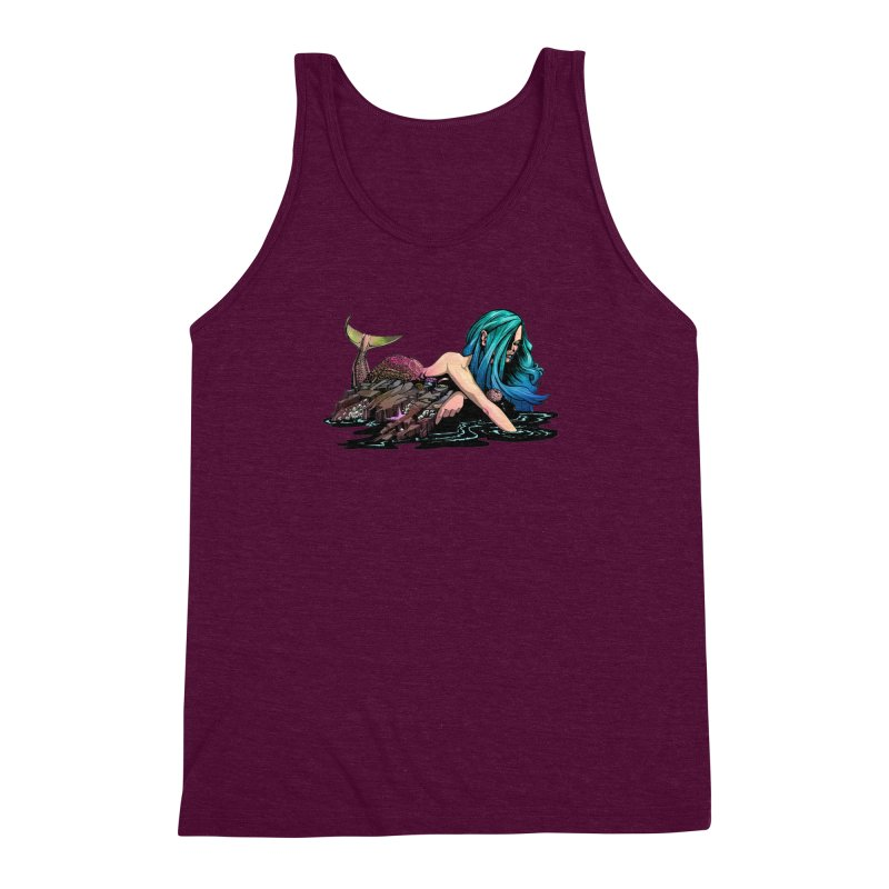 Mermaid on the Rocks Men's Triblend Tank by Cory Kerr's Artist Shop (see more at corykerr.com)