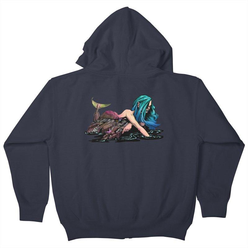 Mermaid on the Rocks Kids Zip-Up Hoody by Cory Kerr's Artist Shop (see more at corykerr.com)