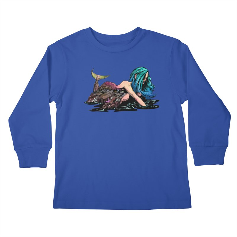 Mermaid on the Rocks Kids Longsleeve T-Shirt by Cory Kerr's Artist Shop (see more at corykerr.com)