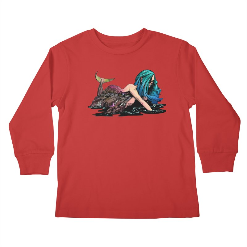 Mermaid on the Rocks Kids Longsleeve T-Shirt by Cory Kerr's Artist Shop (see more at corykerr.com)
