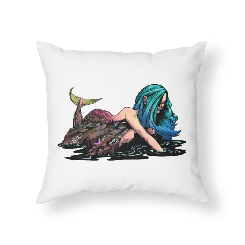 Mermaid on the Rocks Home Throw Pillow by Cory Kerr's Artist Shop (see more at corykerr.com)
