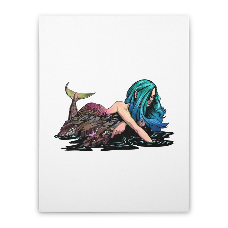 Mermaid on the Rocks Home Stretched Canvas by Cory Kerr's Artist Shop (see more at corykerr.com)