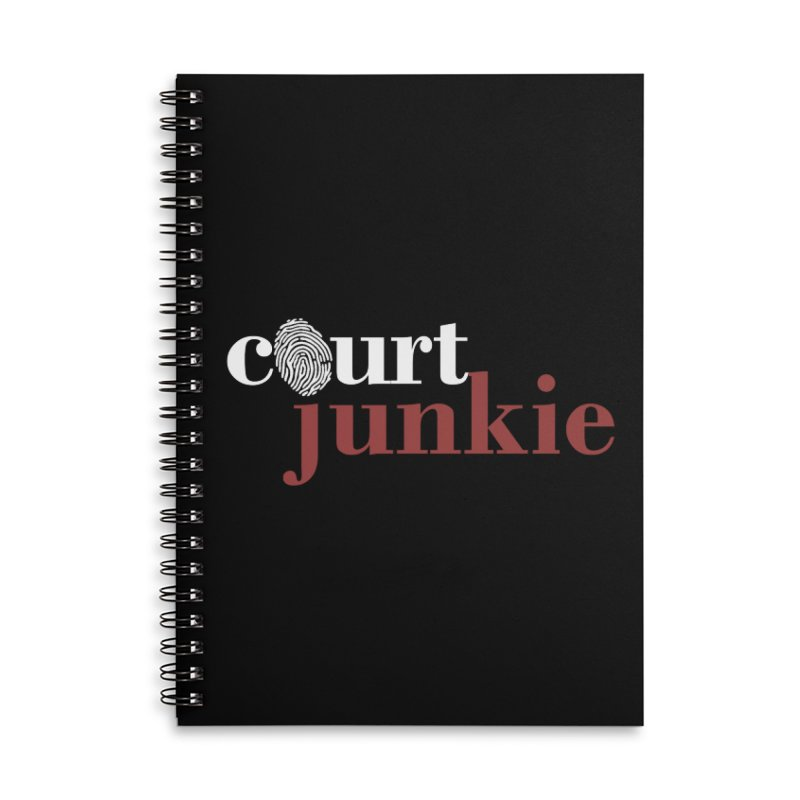 Logo on Black Accessories Lined Spiral Notebook by Court Junkie Store