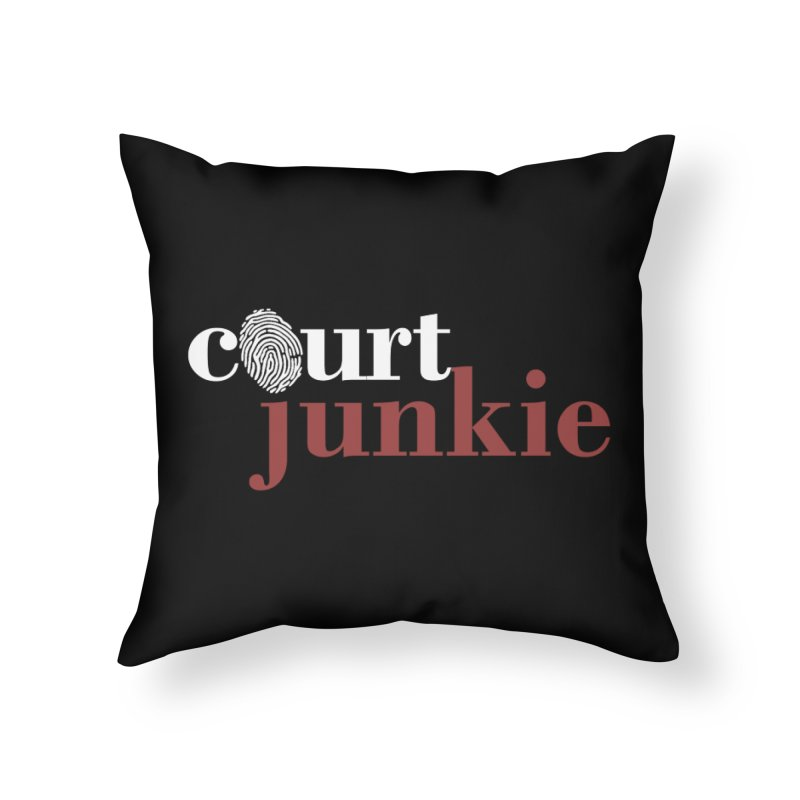 Logo on Black Home Throw Pillow by Court Junkie Store