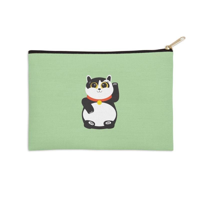 Lucky Panda Cat Accessories Zip Pouch by covereaux's Artist Shop