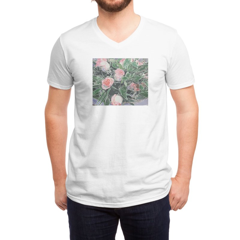 Wild Rose Men's V-Neck by covereaux's Artist Shop