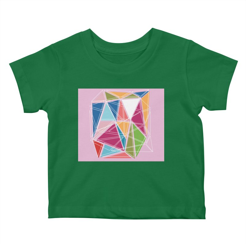 Cubist on Pink Kids Baby T-Shirt by Covereaux's Skate Shop