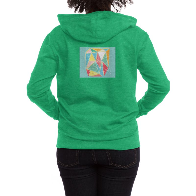 Cubist on blue Women's Zip-Up Hoody by Covereaux's Skate Shop