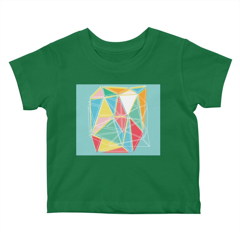 Cubist on blue Kids Baby T-Shirt by Covereaux's Skate Shop