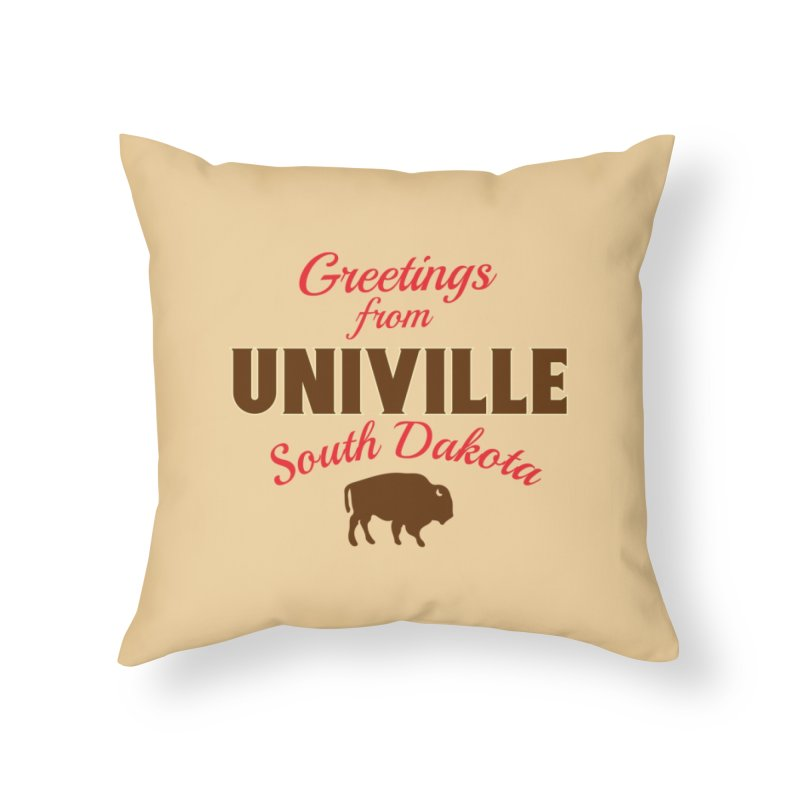 Greetings from Univille Home Throw Pillow by Cowboy Goods Artist Shop