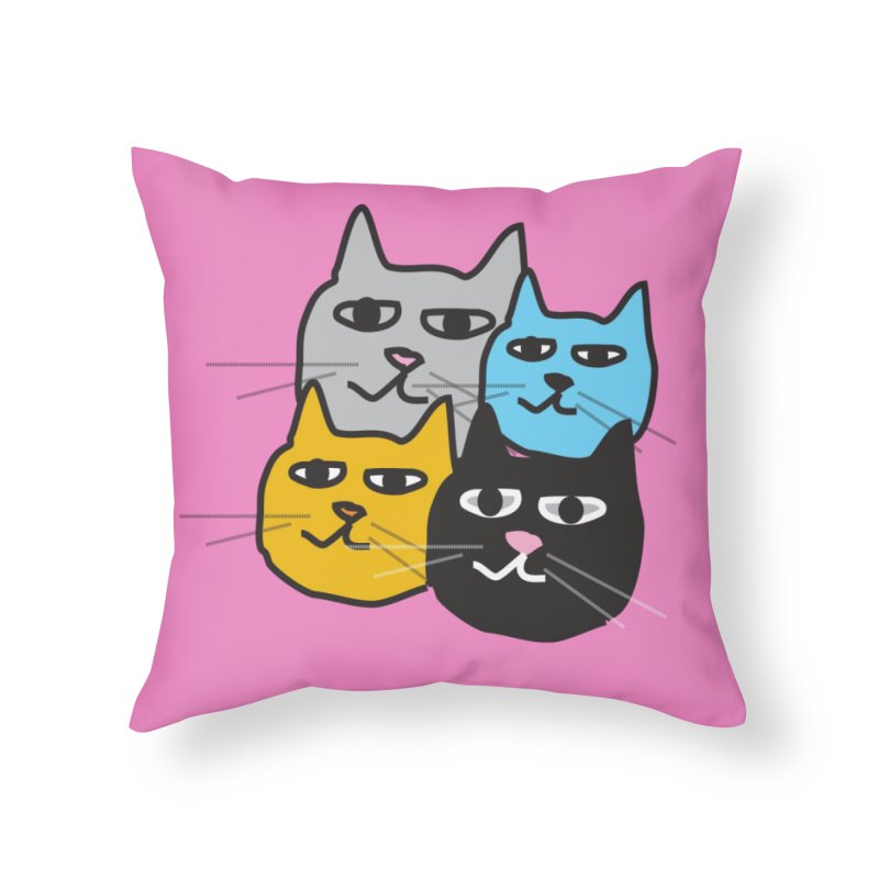 Cat Colony 1 Home Throw Pillow by Cowboy Goods Artist Shop
