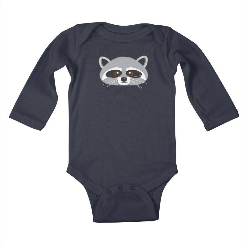 Racoon Face Kids Baby Longsleeve Bodysuit by Cowboy Goods Artist Shop