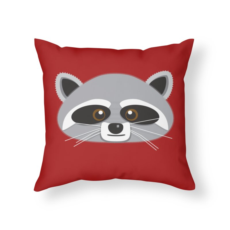 Racoon Face Home Throw Pillow by Cowboy Goods Artist Shop