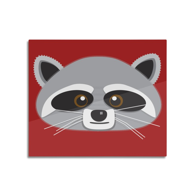 Racoon Face Home Mounted Aluminum Print by Cowboy Goods Artist Shop