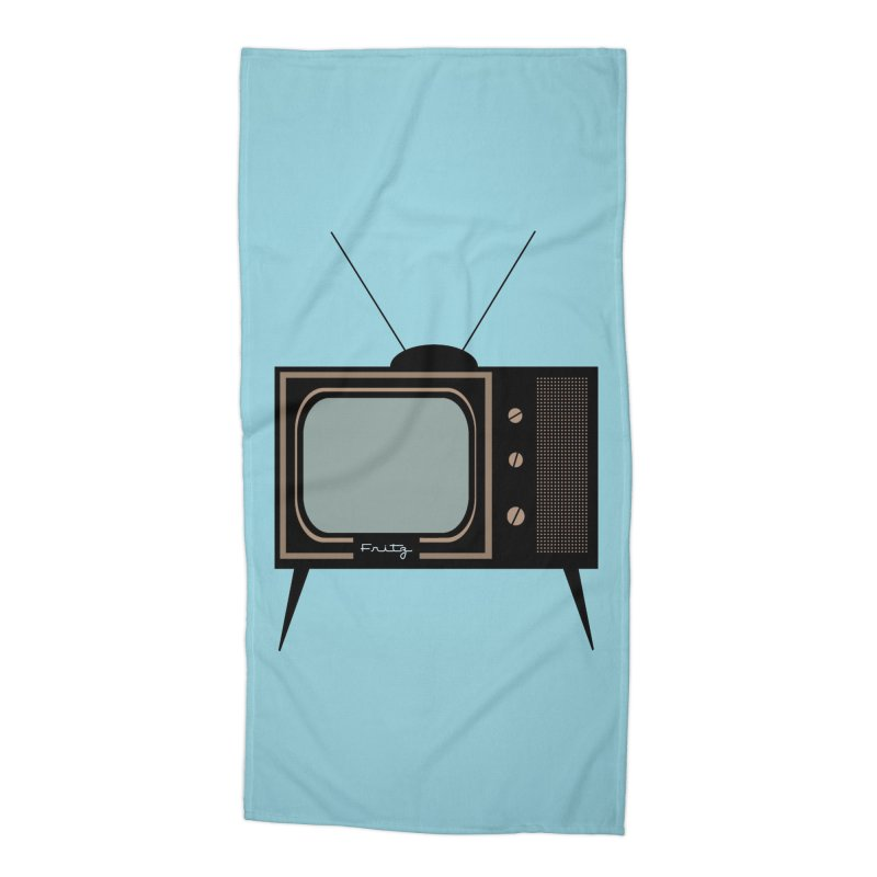 Vintage TV set Accessories Beach Towel by Cowboy Goods Artist Shop