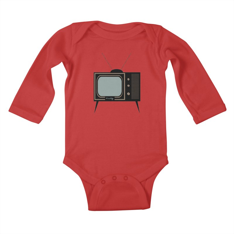 Vintage TV set Kids Baby Longsleeve Bodysuit by Cowboy Goods Artist Shop