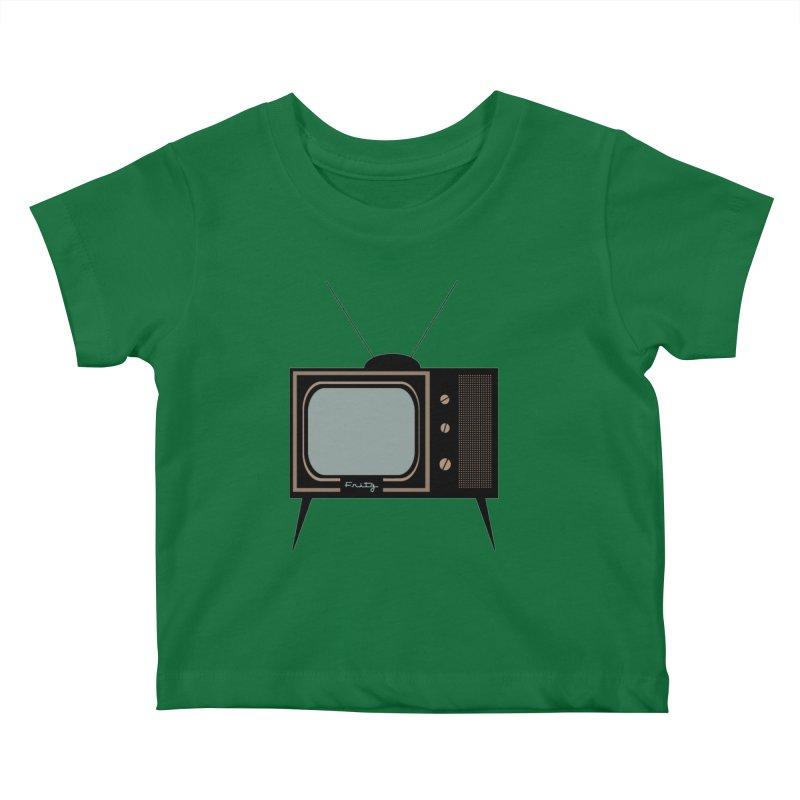 Vintage TV set Kids Baby T-Shirt by Cowboy Goods Artist Shop