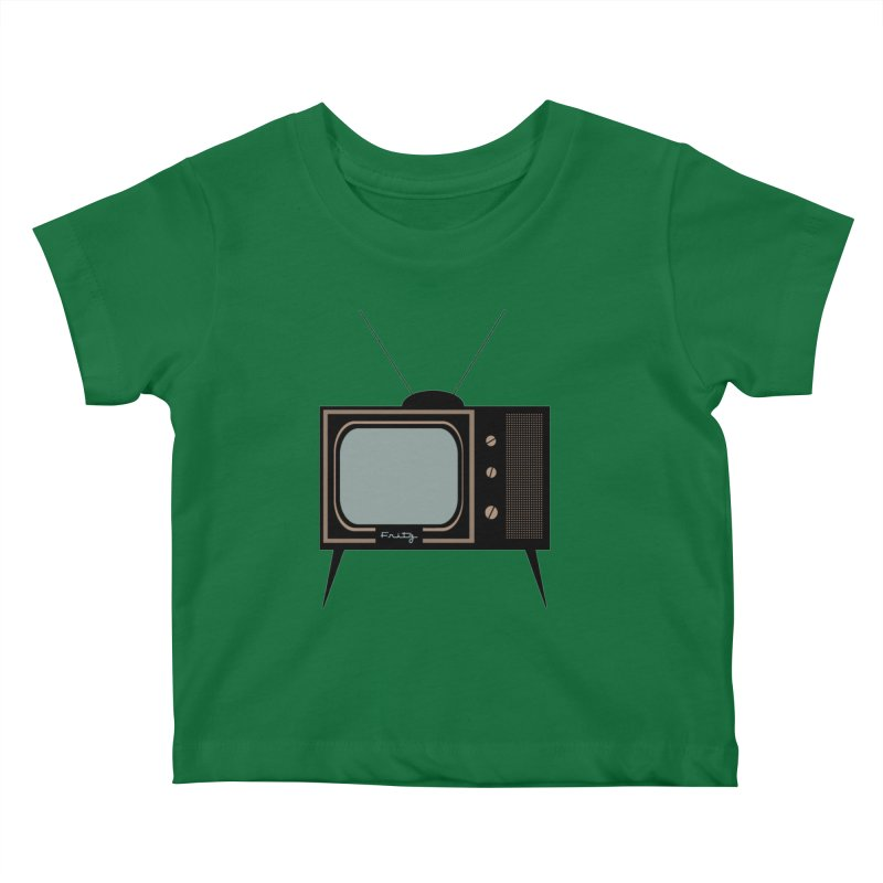 Vintage TV set Kids Baby T-Shirt by Cowboy Goods Artist Shop