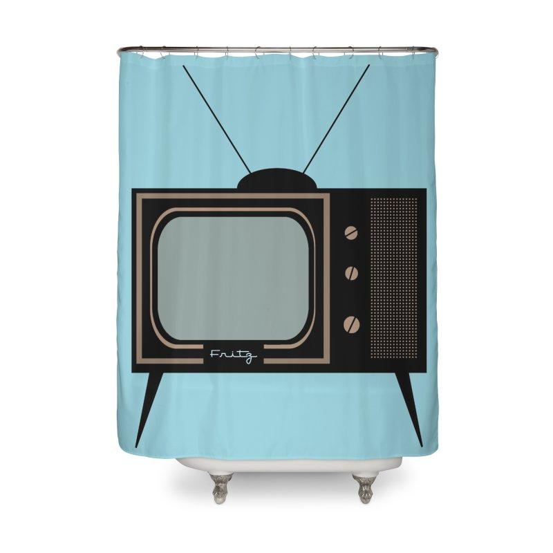 Vintage TV set Home Shower Curtain by Cowboy Goods Artist Shop