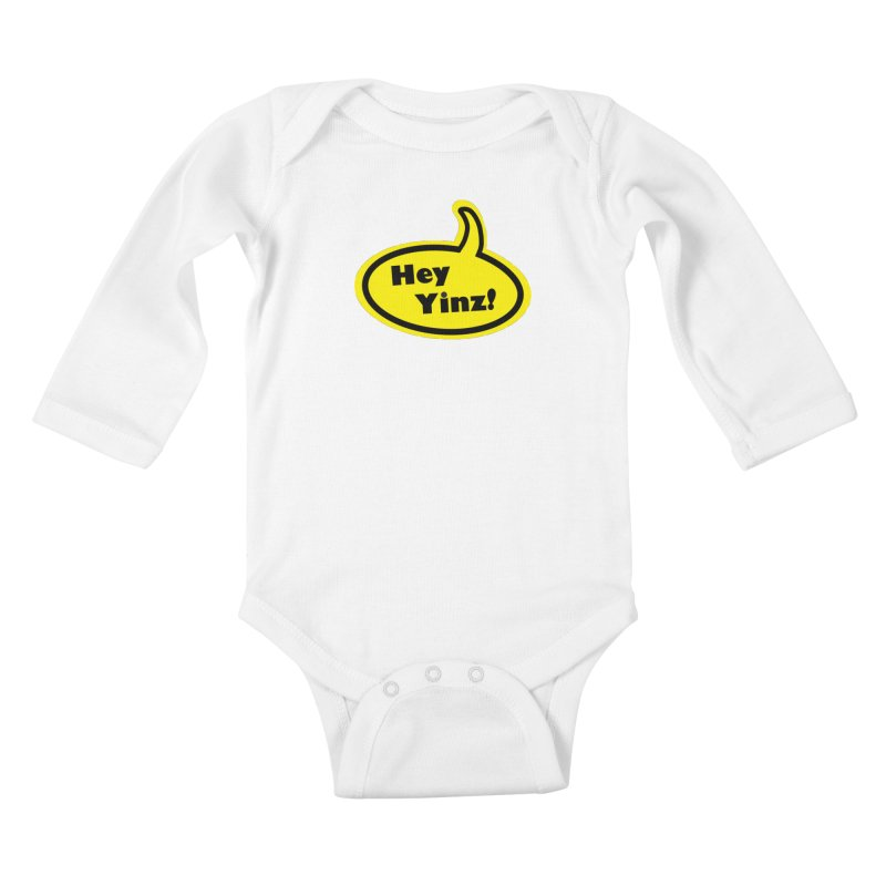 Hey Yinz Bubble in Kids Baby Longsleeve Bodysuit White by Cowboy Goods Artist Shop
