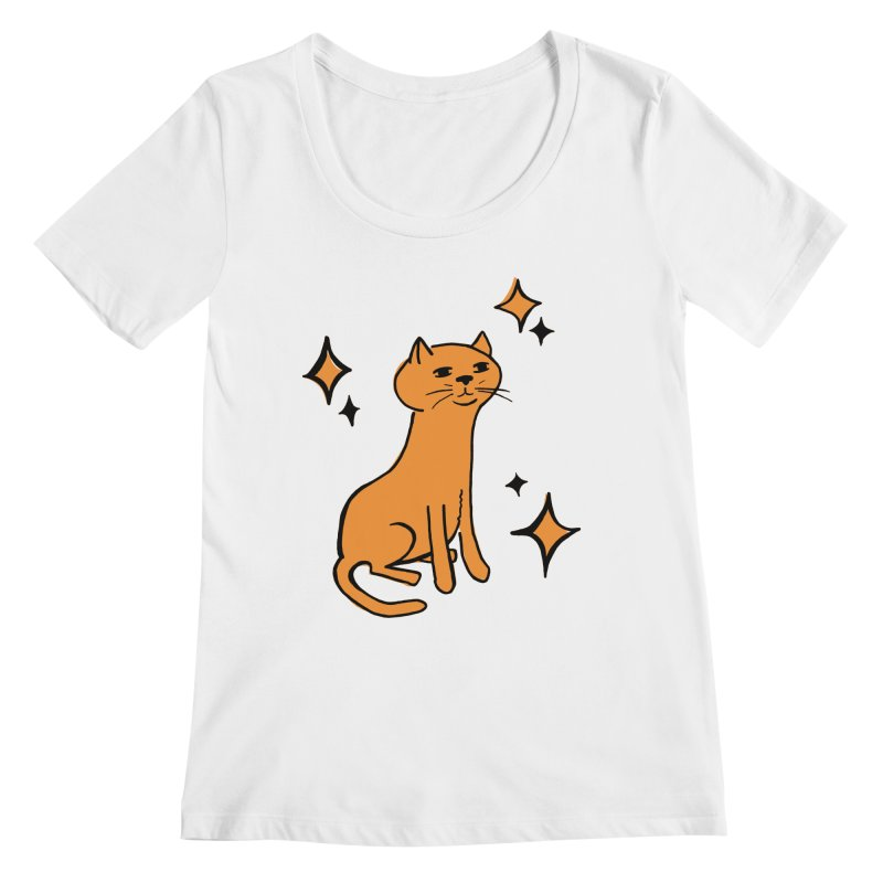 Just a Cat Women's Regular Scoop Neck by Cowboy Goods Artist Shop