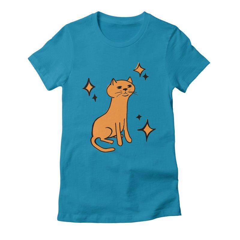 Just a Cat Women's Fitted T-Shirt by Cowboy Goods Artist Shop