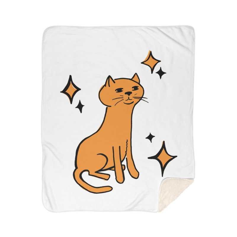 Just a Cat Home Sherpa Blanket Blanket by Cowboy Goods Artist Shop
