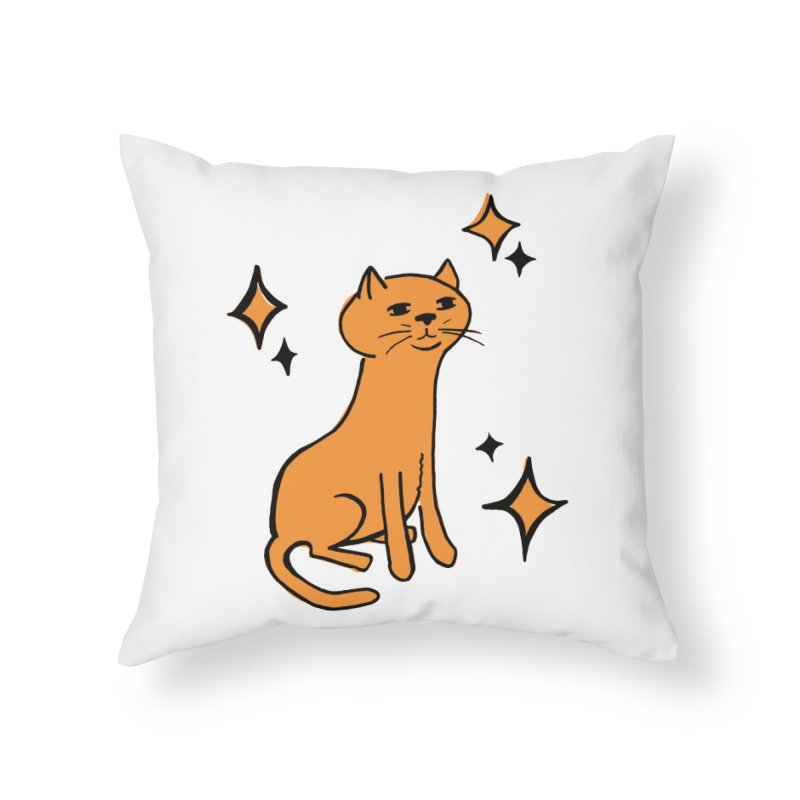 Just a Cat Home Throw Pillow by Cowboy Goods Artist Shop