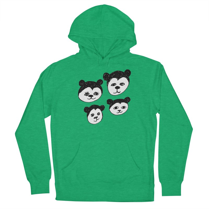 Panda Heads Men's French Terry Pullover Hoody by Cowboy Goods Artist Shop