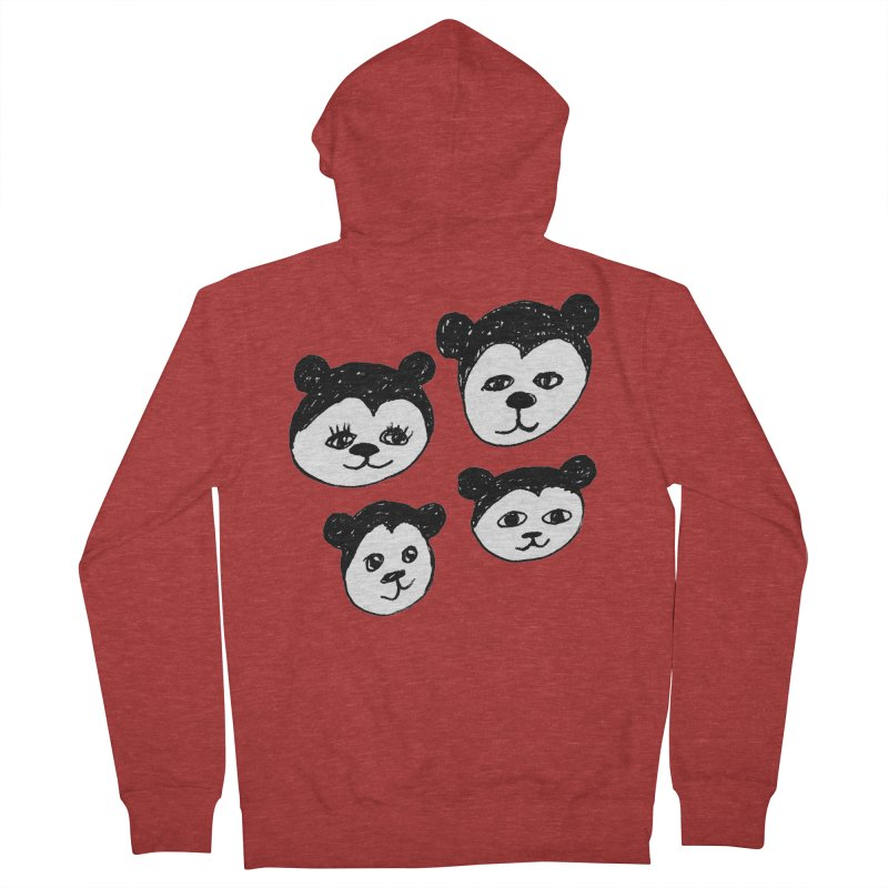 Panda Heads Women's French Terry Zip-Up Hoody by Cowboy Goods Artist Shop