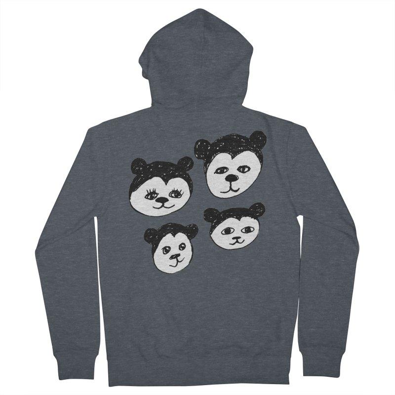 Panda Heads Men's French Terry Zip-Up Hoody by Cowboy Goods Artist Shop