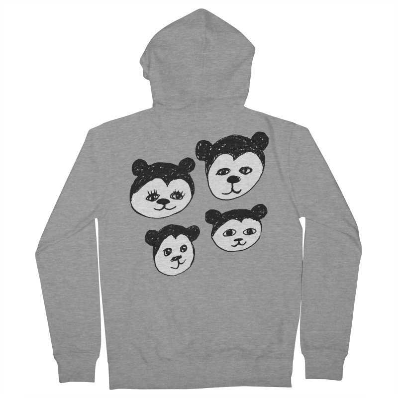 Panda Heads Men's French Terry Zip-Up Hoody by Cowboy Goods Artist Shop