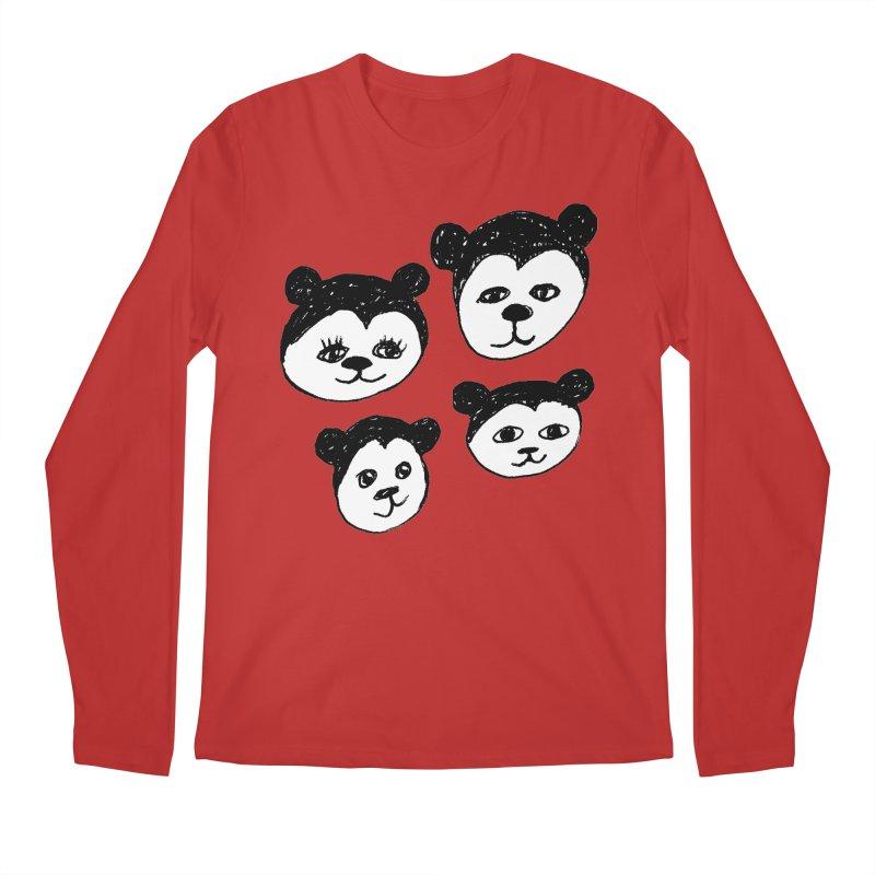 Panda Heads Men's Regular Longsleeve T-Shirt by Cowboy Goods Artist Shop