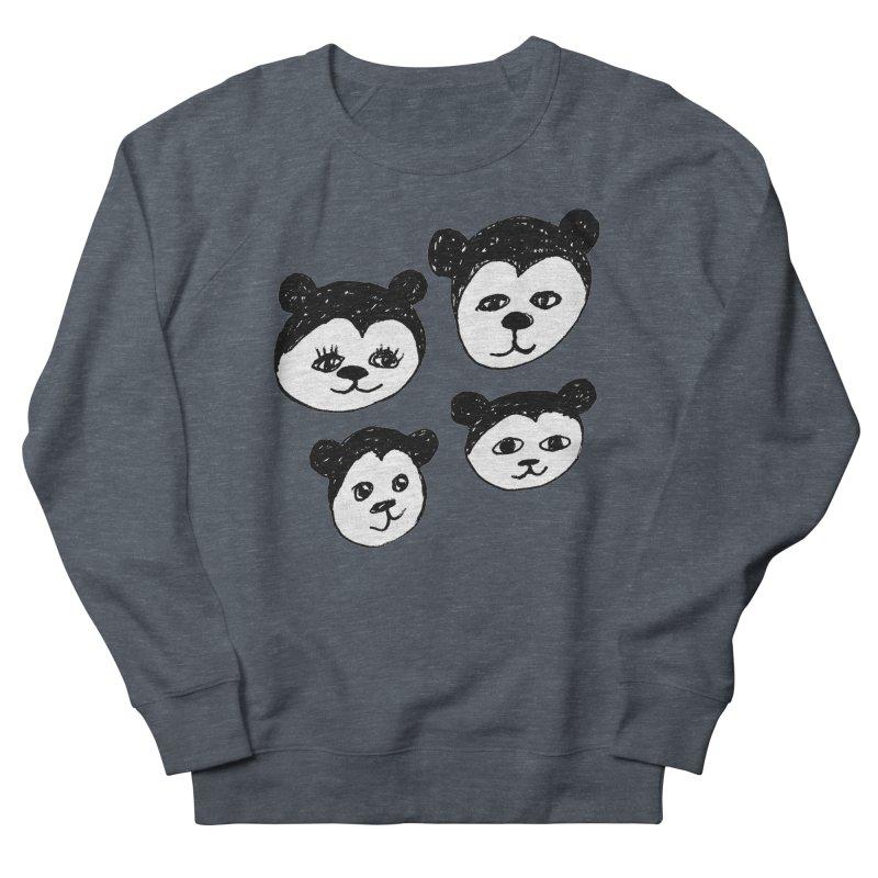 Panda Heads Women's French Terry Sweatshirt by Cowboy Goods Artist Shop