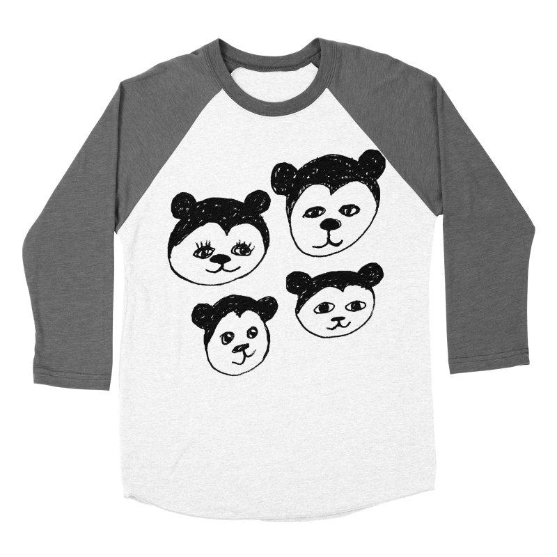 Panda Heads Women's Baseball Triblend T-Shirt by Cowboy Goods Artist Shop