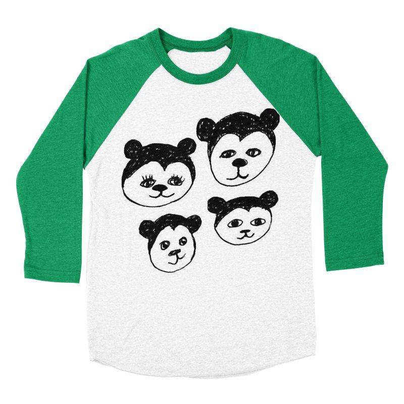 Panda Heads Women's Baseball Triblend Longsleeve T-Shirt by Cowboy Goods Artist Shop