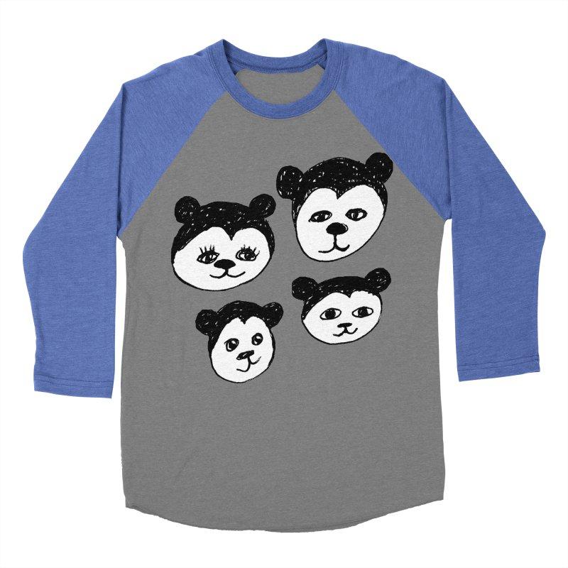 Panda Heads Men's Baseball Triblend T-Shirt by Cowboy Goods Artist Shop