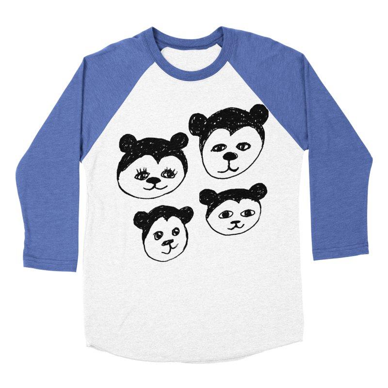Panda Heads Men's Baseball Triblend Longsleeve T-Shirt by Cowboy Goods Artist Shop