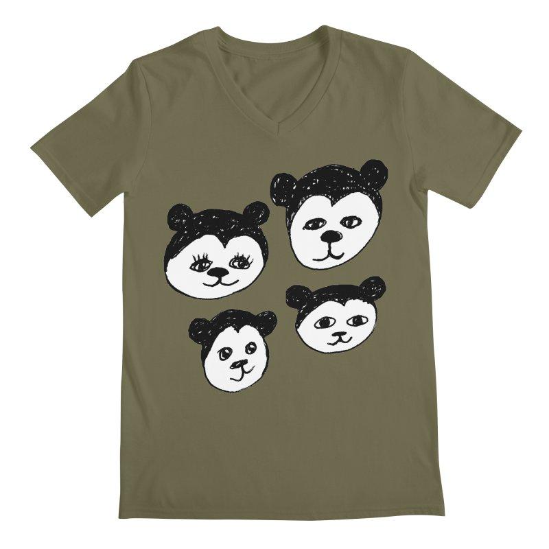 Panda Heads Men's Regular V-Neck by Cowboy Goods Artist Shop