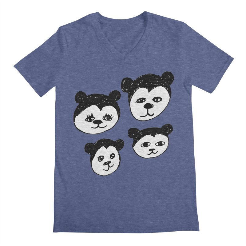 Panda Heads Men's V-Neck by Cowboy Goods Artist Shop