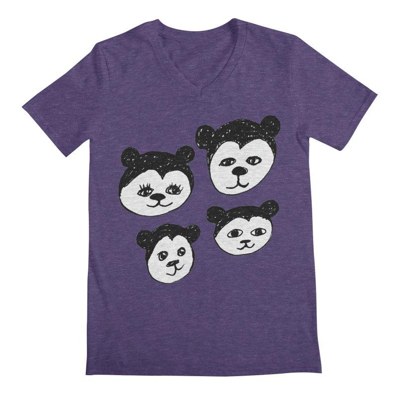 Panda Heads Men's V-Neck by Cowboy Goods Artist Shop