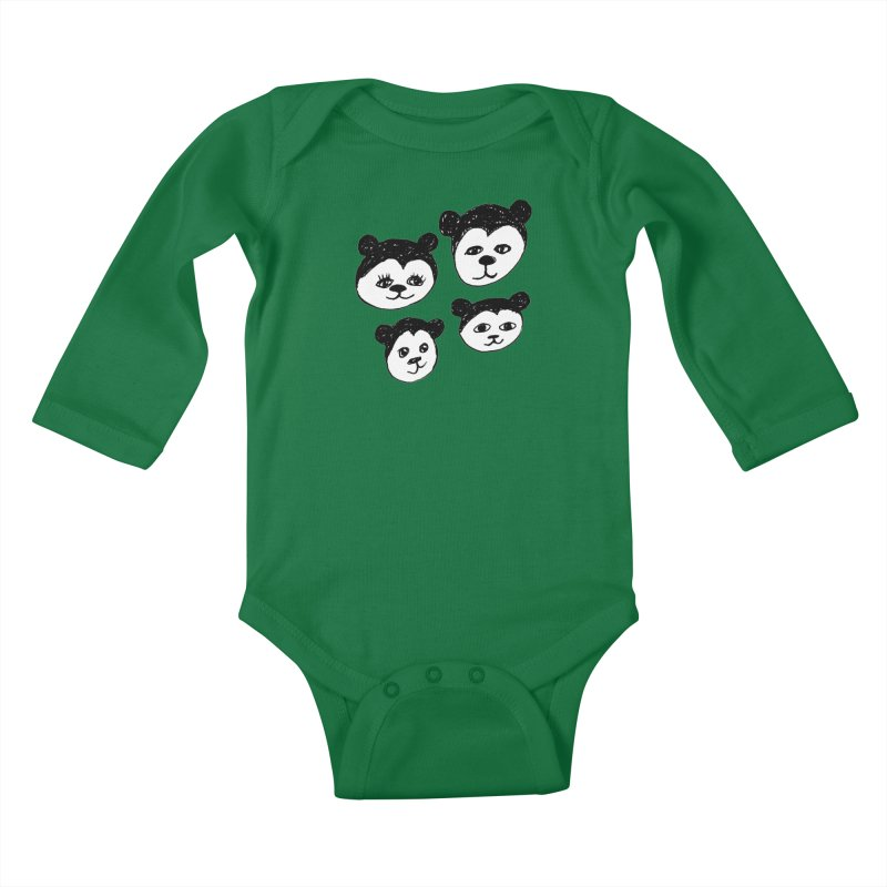 Panda Heads Kids Baby Longsleeve Bodysuit by Cowboy Goods Artist Shop