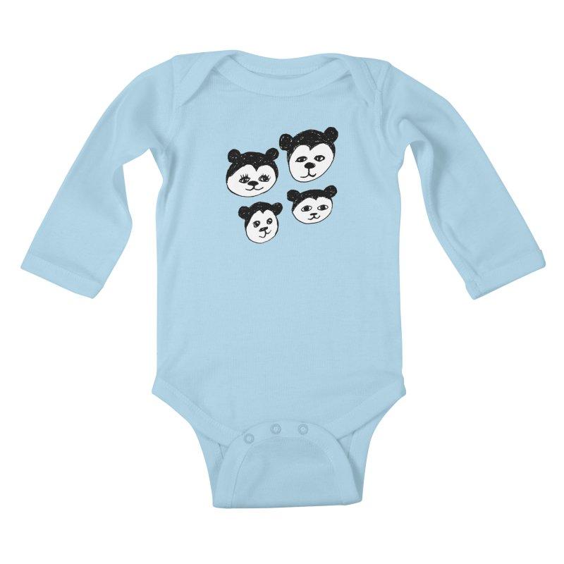 Panda Heads Kids Baby Longsleeve Bodysuit by Cowboy Goods Artist Shop