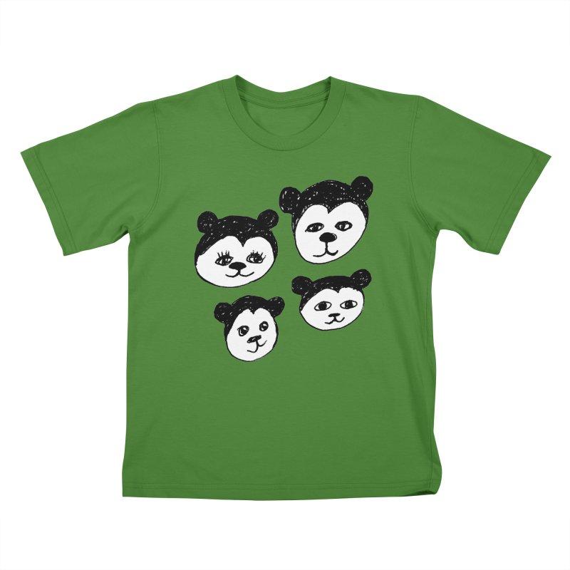 Panda Heads Kids T-Shirt by Cowboy Goods Artist Shop