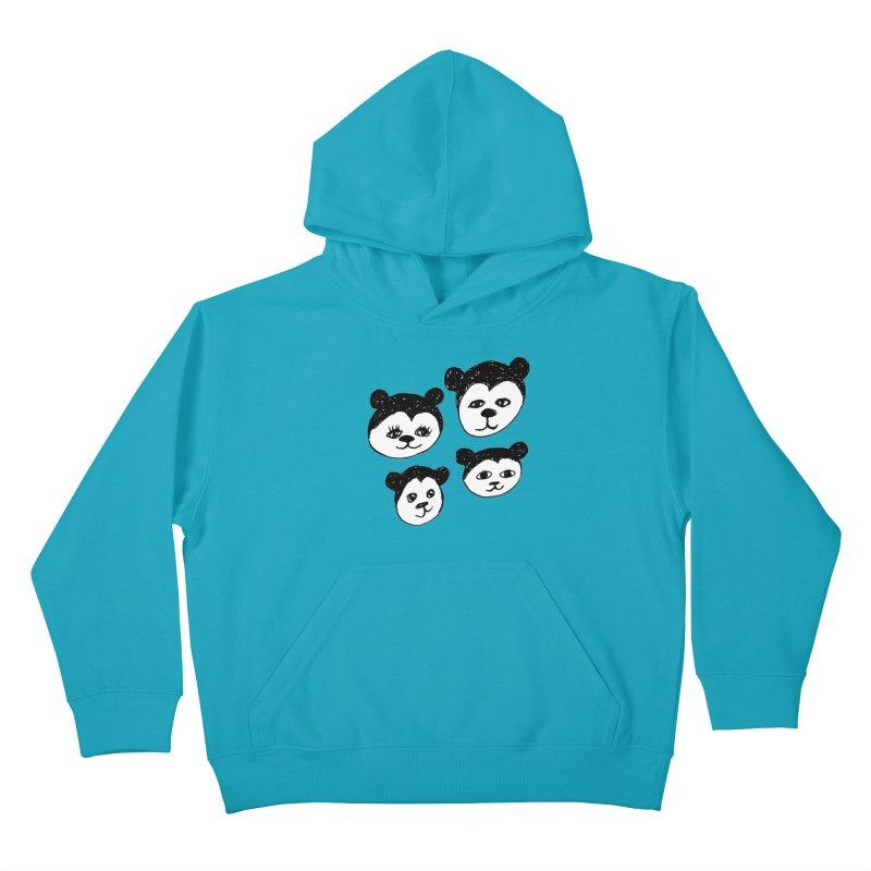 Panda Heads Kids Pullover Hoody by Cowboy Goods Artist Shop