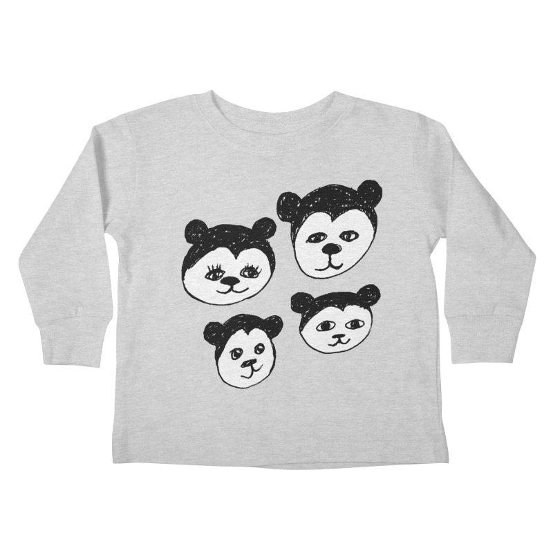Panda Heads Kids Toddler Longsleeve T-Shirt by Cowboy Goods Artist Shop