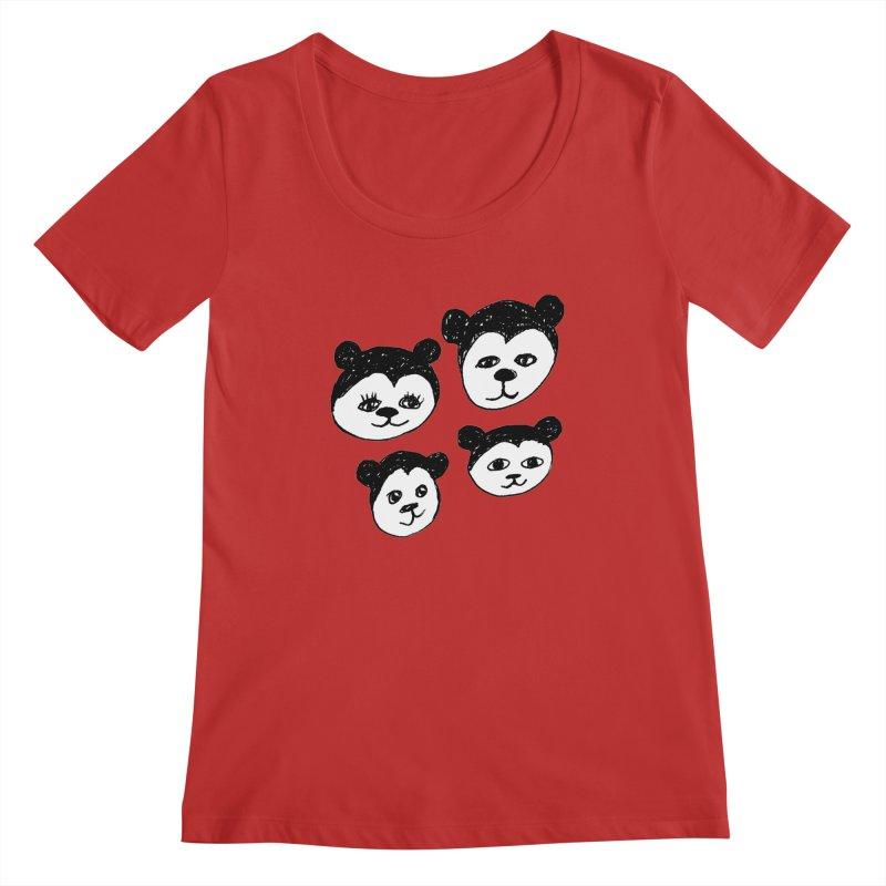 Panda Heads Women's Regular Scoop Neck by Cowboy Goods Artist Shop