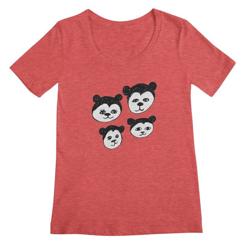 Panda Heads Women's Regular Scoop Neck by Cowboy Goods Artist Shop