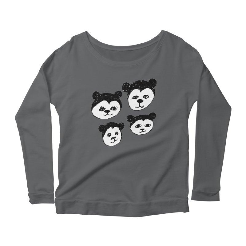 Panda Heads Women's Longsleeve T-Shirt by Cowboy Goods Artist Shop