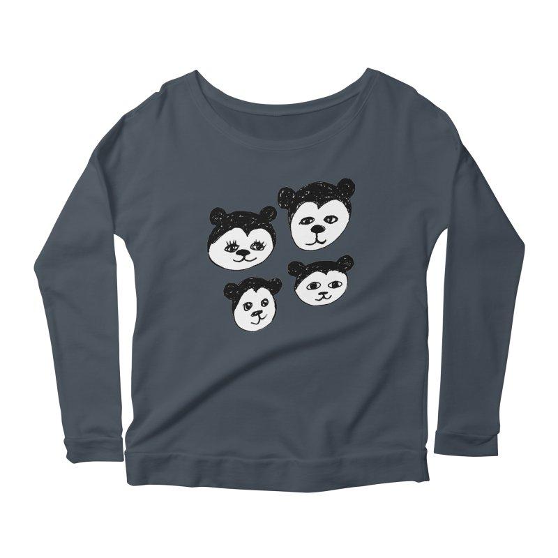 Panda Heads Women's Longsleeve Scoopneck  by Cowboy Goods Artist Shop